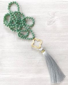 Crystal Statment Necklace, Boho Beaded Necklace, Hand Knotted Necklace, Clover Tassel Necklace, Bohemian Jewelry, Christmas Gifts For Her by FlowersInMyHairShop on Etsy https://www.etsy.com/listing/271468248/crystal-statment-necklace-boho-beaded
