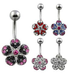 Surgical Steel Crystal Flower Belly Button Ring | eBay