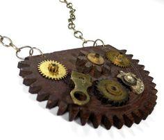 Steampunk Jewelry Necklace Vintage Wood GEAR Watch Parts Brass Cogs, Wheels, Gears Burning Man COOL Unisex - Steampunk Jewelry by edmdesigns