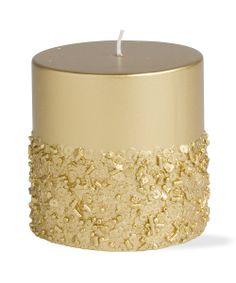 Gold Sparkle Short Pillar Candle | DIY inspiration