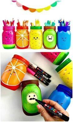 How to Make Rainbow Fruit Mason Jar Craft - 130 Easy Craft Ideas Using Mason Jars for Spring & Summer - DIY & Crafts