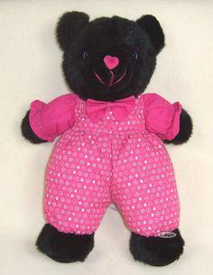 SUGARLOAF CREATIONS BEAR Black Plush 15 inch Stuffed Animal Doll Lovey Pink
