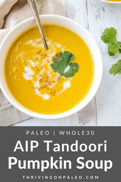 This delicious AIP pumpkin soup is a nightshade-free, seed-free spiced soup that's easily made in 15 minutes from a can of pumpkin!. If you're bored out of your skull with your AIP dishes, this will be just the thing to spice it up! Paleo Soup, Healthy Soup Recipes, Dairy Free Recipes, Gourmet Recipes, Paleo Diet, Paleo Menu, Paleo Pizza, Chili Recipes, Dinner Recipes