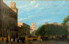 GIUSEPPE CANELLA Vérone, 1788 - Florence, 1847  Vue d'une place animée de personnages Huile sur toile signée 'Canella' en bas à gauche 16,50 x 24,50 cm (6,44 x 9,56 in.)