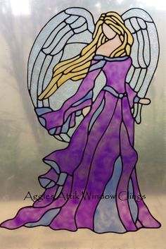 Guardian Angel window cling/decal - faux leadlight / stained glass look. Handpainted,