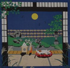 Furoshiki Japanese Fabric Cloth Kotaro the Cat and Autumn Full Moon Cotton 50cm | eBay