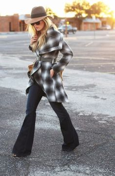 Plaid coat with bell bottoms