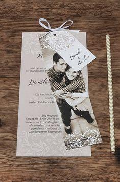 Außergewöhnliche Hochzeitseinladung im eleganten Design mit rosa Ornamenten und Fotostreifen - carinokarten