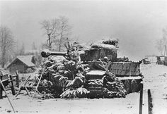 """A """"Tiger"""" tank in ambush camouflage, lies in wait for unsuspecting Soviets. Ostfront, exact date unknown."""