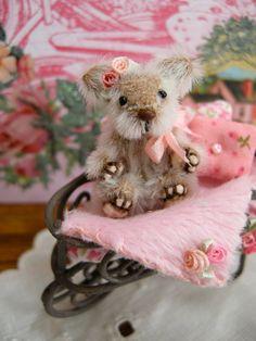 ooak miniature bear in wheel barrow by LittleBearPaws on Etsy, $59.00