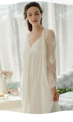Women's Lace Robe Long Embroidery Slip Sleepwear for Bride – omymarts Night Outfits, Outfit Night, Lace Nightgown, Night Dress For Women, Nightgowns For Women, Lingerie Outfits, Bridesmaid Robes, Sleepwear Women, Night Gown