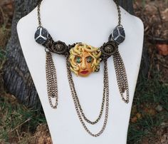 Medusa The Greek Goddess Polymer Clay Button One Of A Kind Wire Wrap Necklace #Jeanninehandmade #Chain