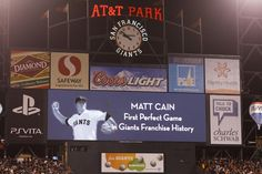 SAN FRANCISCO, CA - JUNE 13: General view of the scoreboard after Matt Cain #18 of the San Francisco Giants (not pictured) pitches a perfect game against the Houston Astros at AT Park on June 13, 2012 in San Francisco, California. The San Francisco Giants defeated the Houston Astros 10-0. Matt Cain struck out a career-high 14 batters, and pitched a perfect game in what was the first in Giants franchise history. (Photo by Jason O. Watson/Getty Images)