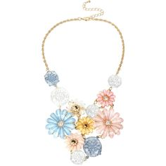 Mixit™ Gold-Tone Pastel Flower Bouquet Bib Necklace (5.840 HUF) ❤ liked on Polyvore featuring jewelry, necklaces, colorful bib necklace, flower necklace, gold tone necklace, clear crystal bib necklace and colorful necklace
