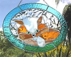 """Golden Brown Kitten Stained Glass Suncatcher in Aqua Border - 8 1/2"""" x 10 1/2"""" - $39.95  - Handcrafted Stained Glass Designs  - Handcrafted Stained Glass Designs  - Glass Suncatchers, Stained Glass Décor, Stained Glass Sun Catchers -  Stained Glass Design   * More at www.AccentOnGlass.com"""