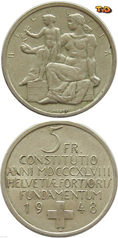 N♡T. Switzerland Swiss 5 francs 1948 - silver coin