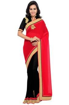 a5c0cdae89331a Buy Indian women Black Half and Half Sari Raw Silk saree with blouse  georgette-saree online