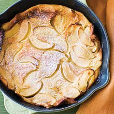 Apple Oven Cake Recipe ~This puffed pancake works nicely as either an elegant breakfast dish or a rustic dessert.