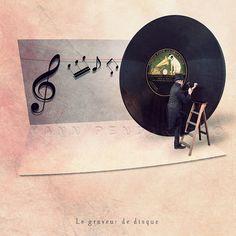 The Vinyl Etcher Photography, Music lover gift, Vinyl record print, Music wall decor, Black pink beige decor 6x6 (15x15cm)