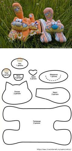 ARTE COM QUIANE - Paps,Moldes,E.V.A,Feltro,Costuras,Fofuchas 3D: 7 moldes de artesanato que você precisa ter! Molde de cachorrinho, gatinho, ursinho, passarinho, caracol e casinha! Lindos! Sewing Toys, Sewing Crafts, Sewing Projects, Plush Pattern, Cat Pattern, Cat Crafts, Animal Crafts, Fabric Toys, Fabric Crafts