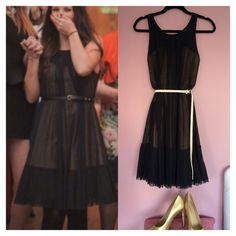 **HOLIDAY PARTY** BCBG Max Azaria LBD This dress has a fitted structure lining in a khaki color and a black tulle material overlay. It looks best belted. BCBGMaxAzria Dresses