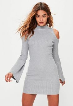 grey cold shoulder fluted sleeve mini dress | Missguided