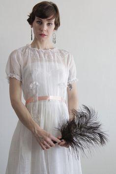Antique Edwardian Dress  Lace and Cotton  Pink Ribbon by VeraVague, $395.00