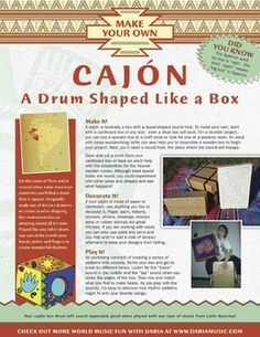 Discover the cajón (box drum) from Afro-Peruvian culture and it's history as a substitute drum used by enslaved people who were brought to that country against their will.  Although it has a sad origin, it also has a proud history of retaining African rhythms and cultural traditions within the new world and is an integral part of Afro-Peruvian as well as other Latin American musical traditions.   This pdf activity shares the basics of making one from recycled materials and discovering simple…
