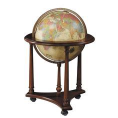 Become a globetrotter from the comfort of your own home with this Lafayette illuminated floor globe. With its beige ocean finish, up-to-date map and elegantly crafted wood stand, this globe is a stylish and functional accent piece.