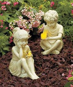 Classic garden decor is enhanced by a lighted accent in each Kid with Solar Critter Statue. Cold cast ceramic piece has a natural finish and depict a delighted