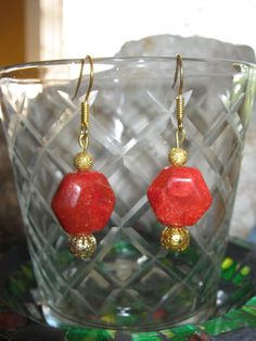 Beautiful Handmade Gold Hook Earrings with Facetted Orange Agate What do you think about these earrings? Please let me know, thank you :-) You can find these earrings here and other beautiful Jewel...