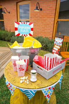 Popcorn bar from a Backyard Carnival Party on Kara's Party Ideas | KarasPartyIdeas.com (13)