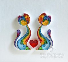 Quilling Paper Wall Art The Love Cats. Handmade.