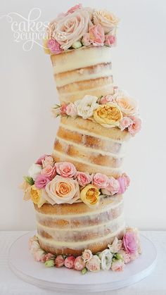 Love wonky cakes, but I love NAKED FLORAL wonky cakes even more.