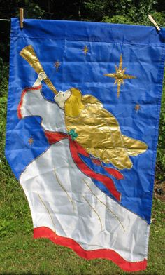 Angel with Horn Large Christmas Flag by NCE  1993 954 Gold Wings Stars Blue Back #NCE