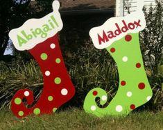 Personalized Polka Dot Christmas Stockings Christmas Yard Decorations Christmas Yard Art outdoor
