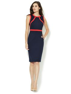 Paneled Contrast Trim Sheath Dress by Ava & Aiden