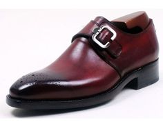 The burgundy monk strap is a great alternative to the typical black dress shoe with a navy or grey suit.