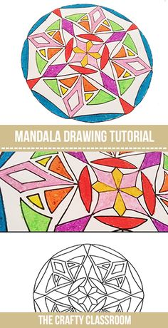 Teach Kids to Draw Their Own Mandala.  Great for lessons in radial symmetry or India Unit Study.  Every design turns out a beautiful and unique creation. Full photo tutorial