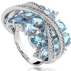 Anel Ouro Branco Topázio Sky e Diamantes Delicata # VIVARA/BRA JEWELLS