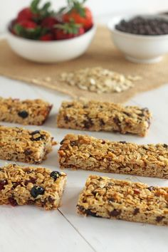 Mixed Berry Chocolate Chip Granola Bars | Delightful chewy granola bars chock full of berries and mini chocolate chips.