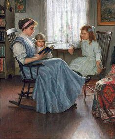 Lee Lufkin Kaula - Mother Reading with Two Girls