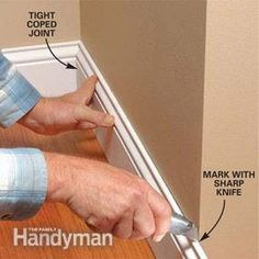Perfect Trim on Doors, Windows and Base Moldings - Step by Step: The Family Handyman Base Moulding, Door Molding, Moldings And Trim, Molding Ideas, Crown Moldings, Trim Carpentry, Window Casing, Trim Work, Door Trims