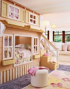 Love the architectural aspect of this bed.  How fun with this be for sisters.