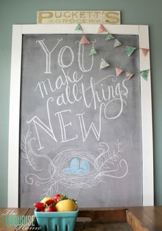 "Thank goodness Spring is right around the corner! ""You Make All Things New"" Spring is Coming Chalkboard Art 