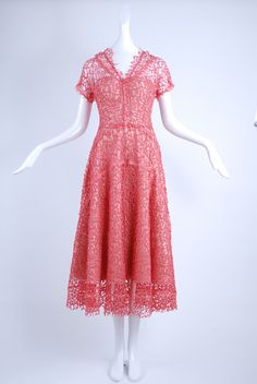 Isabel Toledo V-neck Lace Dress in Coral