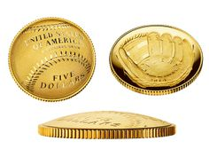 first curved coins  commemorating National Baseball's Hall of Fame 75th anniversary.  $5 gold coin that will cost $40,