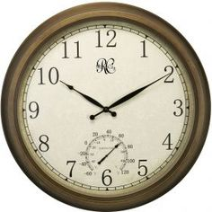 River City Clocks Indoor/Outdoor Brass 24 in. Wall Clock with Thermometer - Designed to be used both indoors and outdoors, the River City Clocks Indoor/Outdoor Brass 24 in. Wall Clock with Thermometer is big on both form a.