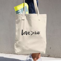 Love > Hate Cotton Tote Bag