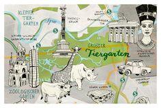 Berlin Postcard, Berlin Tiergarten, hand drawn art print card, pretty map illustration, postcrossing, in green, gray, blue, by Theresa Grieben Shop